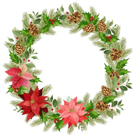 빨간 포 인 세 티아와 나뭇잎의 크리스마스 화 환입니다. 텍스트 배치합니다. 수채화 벡터 일러스트 레이 션.