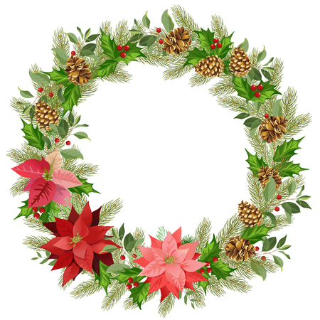Christmas wreath of red poinsettia and leaves. Place for your text. Watercolor vector illustration.