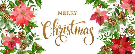 Christmas card design composition of poinsettia