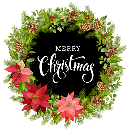 Christmas wreath of red poinsettia and leaves