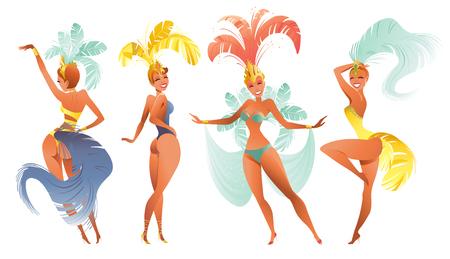 Set of Brazilian samba dancers. Vector carnival in Rio de Janeiro girls a festival costume is dancing.