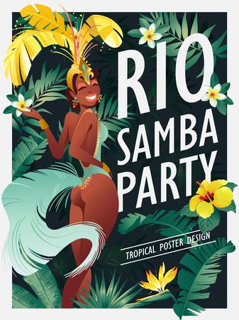 Danseur de samba brésilien. Carnaval à Rio de Janeiro les filles portant un costume de festival dansent. Illustration vectorielle