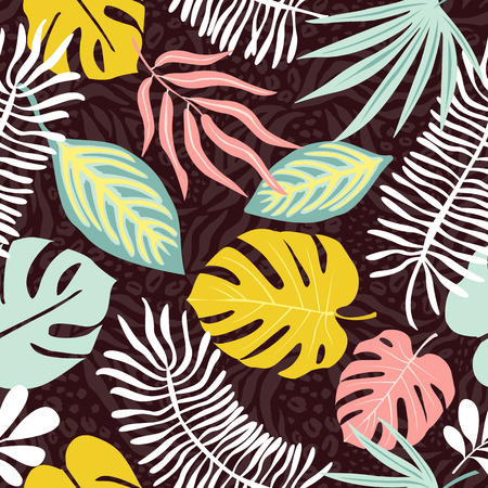 Modern exotic jungle fruits and plants seamless pattern.