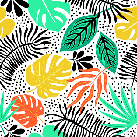 Exotic pattern with tropical plants Stock Illustratie