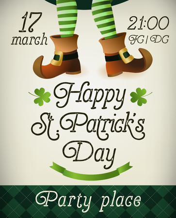 Banner design with Leprechaun legs for St. Patrick s Day Party