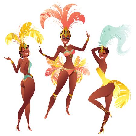 Set van Braziliaanse Samba-dansers. Vectorcarnaval-meisjes die een festivalkostuum dragen dansen.
