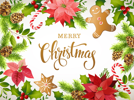 Christmas design composition of poinsettia, fir branches, cones, gingerbread, candy cane, holly and other plants. Cover, invitation, banner, greeting card. Vectores