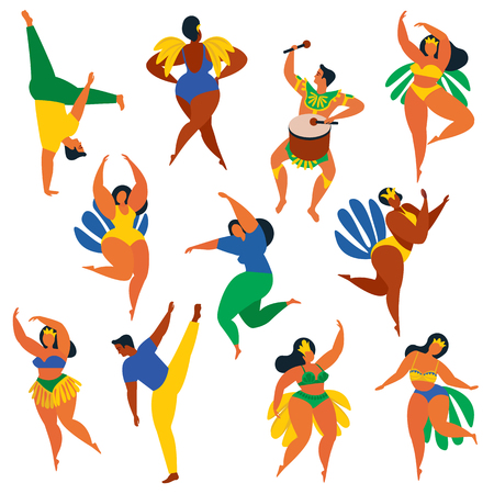 Illustration in retro flat style carnival girls. Stok Fotoğraf - 89420481