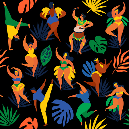 Vector illustration in retro flat style carnival young people. Seamless pattern Brazilian samba dancers, capoeira, drummer. Design tropic bright leaves.