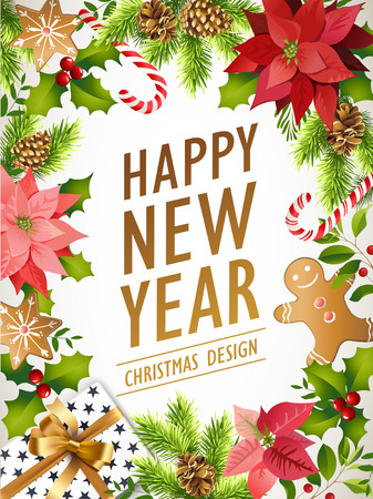 Happy New Year design composition of poinsettia, fir branches, cones, holly and other plants. Vector illustration.