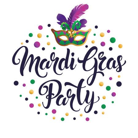 Mardi Gras mask, colorful poster, banner template Ilustração