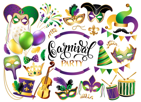 Mardi Gras French traditional symbols collection - carnival masks, party decorations. Vector illustration isolated on white background. Vettoriali