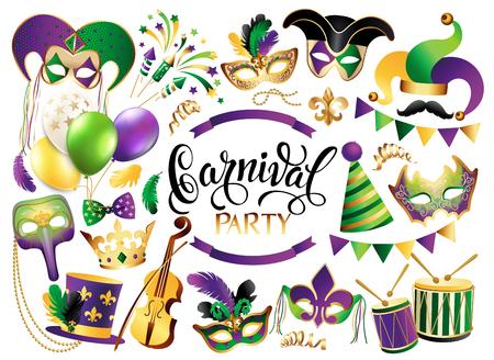 Mardi Gras Francuska kolekcja tradycyjnych symboli - maski karnawałowe, dekoracje świąteczne. Ilustracja wektorowa na białym tle.