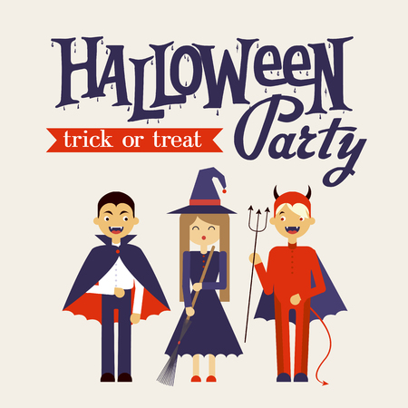 Vector illustration of Halloween monster costume. Poster for Halloween Party.