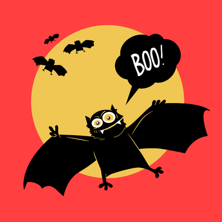 Vector illustration. Comical devil horror flying bat. Halloween.