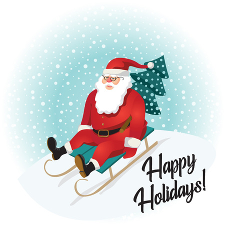 Funny Santa Claus sledding with mountains. Christmas greeting card background poster. Vector illustration. Happy holidays