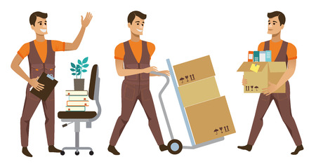 Different Delivery Service Workers And Clients, Smiling Couriers Delivering Packages And Movers Bringing Set Of Illustrations