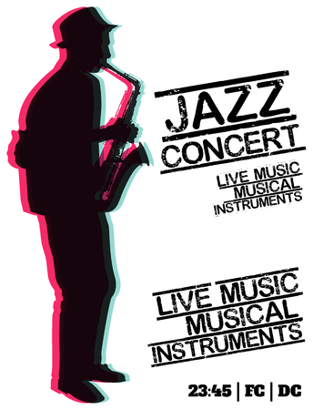 Jazz blues music concert, poster background template. Vector design poster. Ilustrace