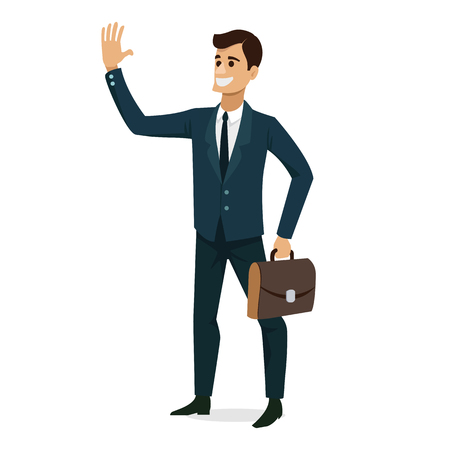 Businessman smile success character design isolated. Vector illustration.