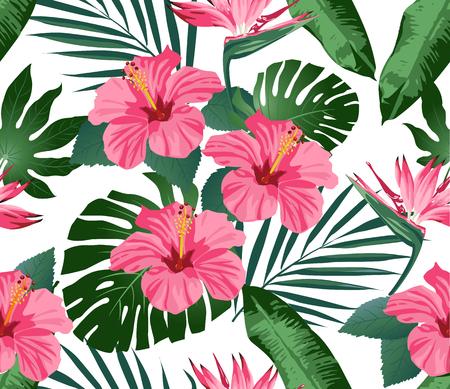 熱帯の花と背景の葉。シームレスです。ファッションを印刷します。ベクトル。  イラスト・ベクター素材