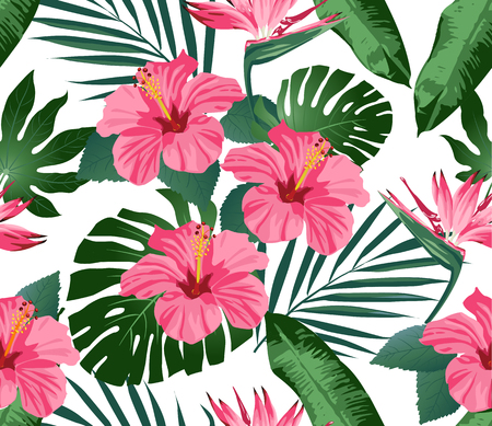 Tropical flowers and leaves on background. Seamless. Print Fashion. Vector.
