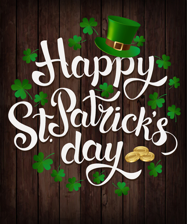 Happy St. Patrick s Day lettering Vector illustration. Ilustrace