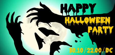 Halloween party poster design Vector illustration.