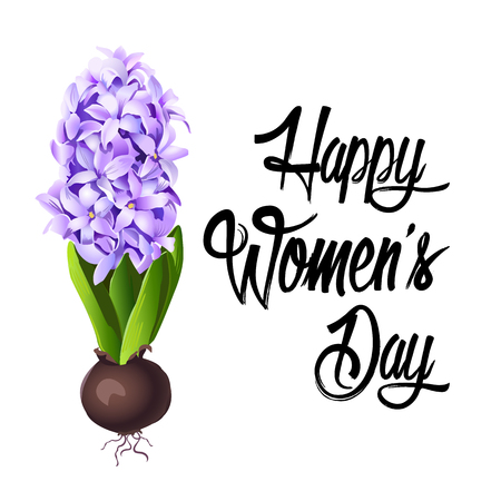 Happy Womens Day Lettering design Vector illustration. Çizim
