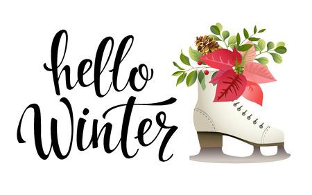 Hello winter. Vector illustration. Lettering. Calligraphy. Hello winter black written inscription with ice skate on white background.