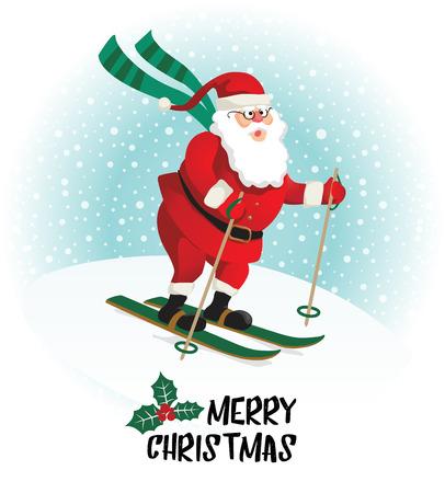 Santa Claus gives gifts on skiing. Vector illustration.