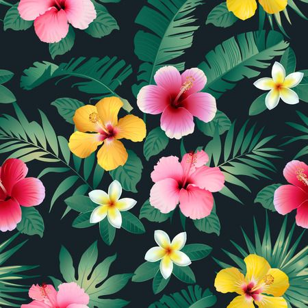 Tropical flowers and leaves on dark background. Seamless.
