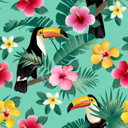 Tropical birds and palm leaves seamless background. Vector. Reklamní fotografie - 91217582