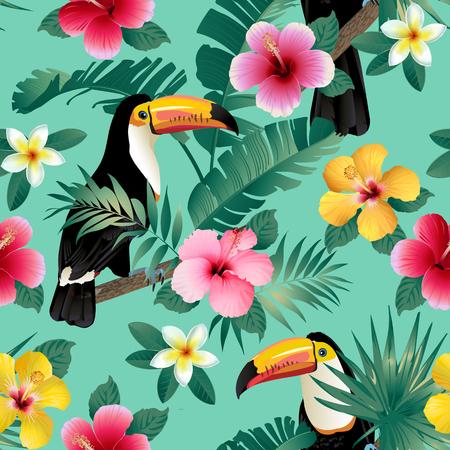 Tropikalne ptaki i liście palmowe bezszwowe tło. Wektor.