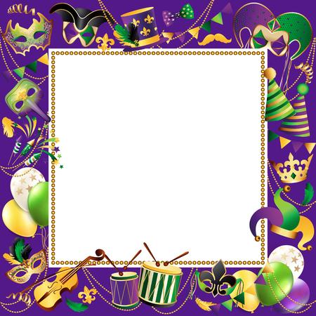 Frame template with golden carnival mask border design.