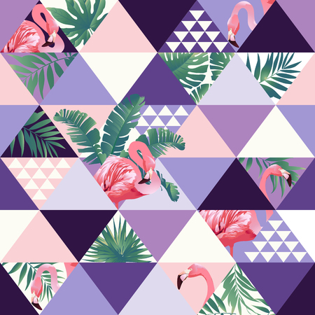 Exotic beach trendy seamless pattern, patchwork illustrated floral vector tropical banana leaves.