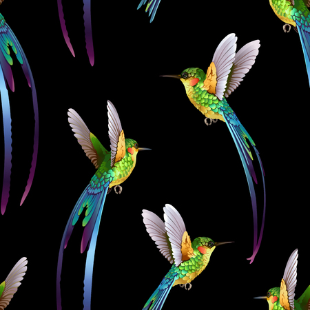 Beautiful hummingbirds pattern.