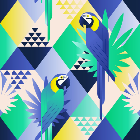 Exotic beach trendy seamless pattern, patchwork illustrated vector tropical leaves. Jungle blue parrots. Wallpaper print background mosaic