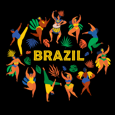 Brazil carnival. Vector illustration of funny dancing men and women in bright costumes. Design element for carnival concept