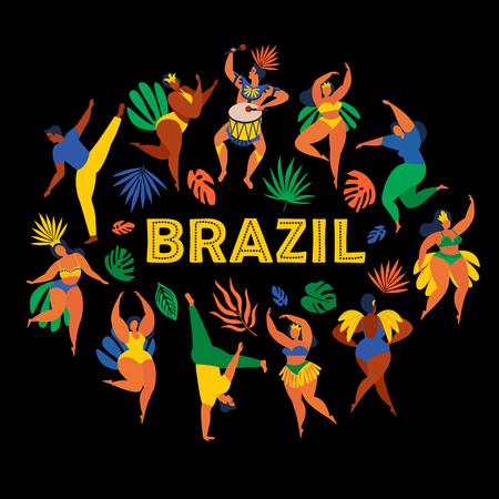 Brazil carnival. Vector illustration of funny dancing men and women in costumes. Design element for carnival concept