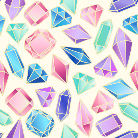 Abstract seamless pattern with crystals. Vector background for various surface. Trendy hand drawn textures.