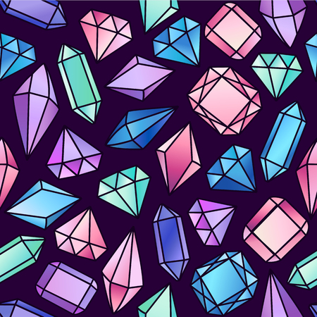 Abstract seamless pattern with crystals. Vector background for various surface. Ilustracja