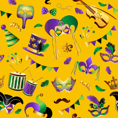 Template with Golden Carnival Masks on Background.