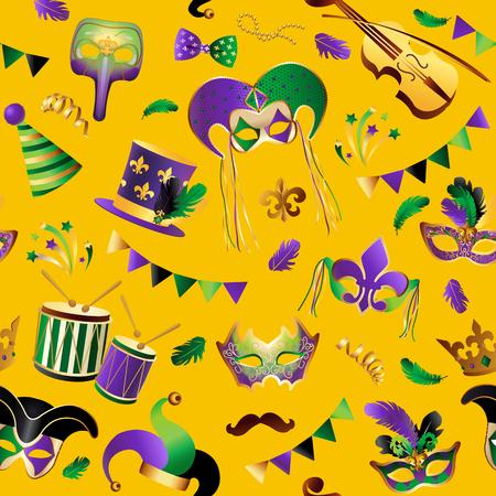 Sjabloon met gouden carnaval-maskers op achtergrond. Stock Illustratie