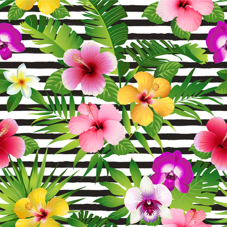 Tropical flowers and leaves on striped background.