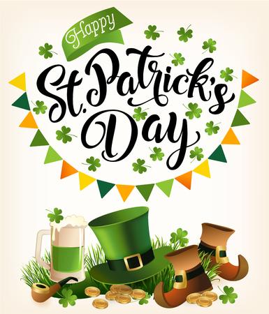 St. Patricks Day vintage holiday banner design vector illustration.