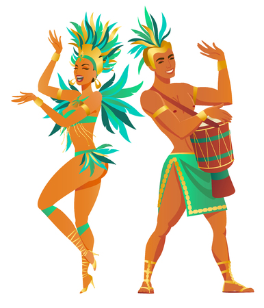Set of Brazilian samba dancers. Vector carnival girl and guy dancing. Çizim