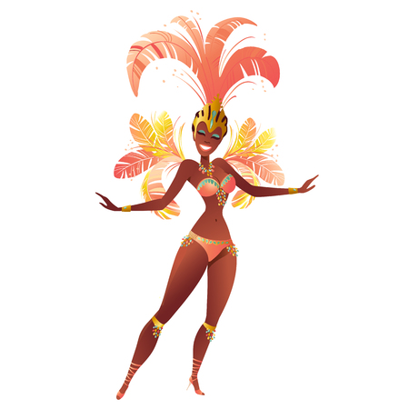 Set of Brazilian samba dancer. Vector carnival girl wearing a festival costume is dancing. Vettoriali