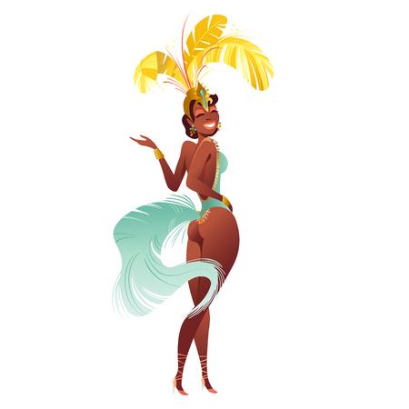 Satz des brasilianischen Sambatänzers. Das Vektorkarnevalsmädchen, das ein Festivalkostüm trägt, tanzt. Standard-Bild - 93709010