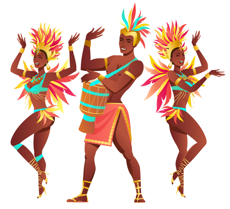 Set of Brazilian samba dancers. Vector carnival girls and guy dancing. Ilustração