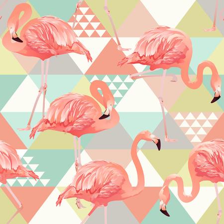 Flamants roses de jungle. Papier peint mosaïque d'arrière-plan. Modèle sans couture tendance plage exotique, patchwork illustré feuilles de bananier tropical vector floral. Vecteurs